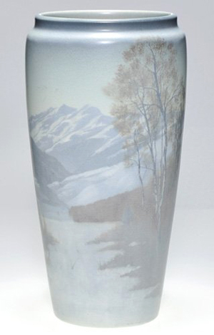 This 15-inch Scenic Vellum vase with panoramic view of the Canadian Rockies is considered rare. Image courtesy Cincinnati Art Galleries.