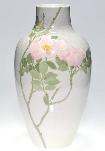 Albert Valentien decorated this 14 3/4-inch Rookwood Iris Glaze vase with pink roses. Image courtesy Cincinnati Art Galleries.