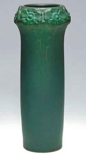 Nearly 13 inches high, this mat green glaze vase crafted in 1902 represents an early work of Van Briggle Pottery. Image courtesy Cincinnati Art Galleries.