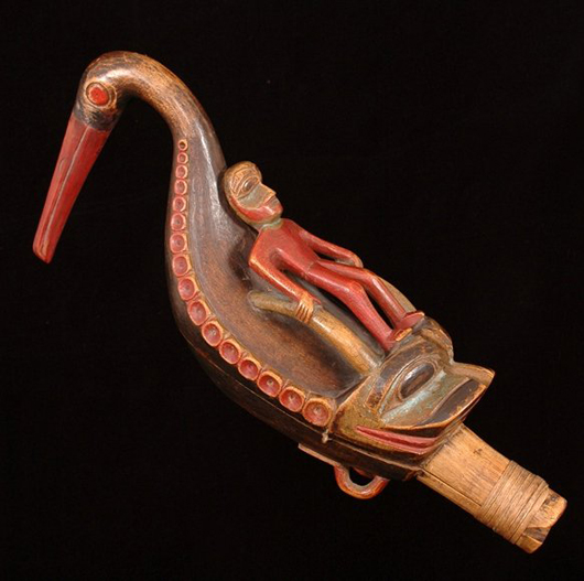 A Tlingit shaman carved this oystercatcher rattle for ceremonial use in healing the sick. Image courtesy Seahawk Auctions.