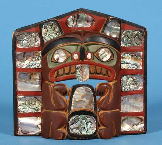 Inlaid abolone adorns this beaver frontlet, which a chief would wear on his forehead. Image courtesy Seahawk Auctions.