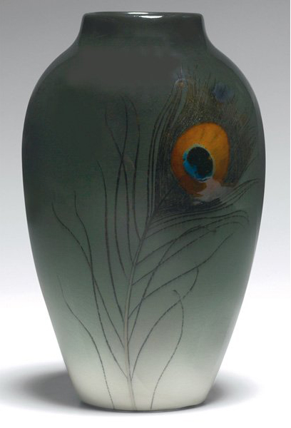 Also by Carl Schmidt, this Rookwood Iris glaze vase done in 1910 is 10 inches high. Image courtesy Treadway Gallery.