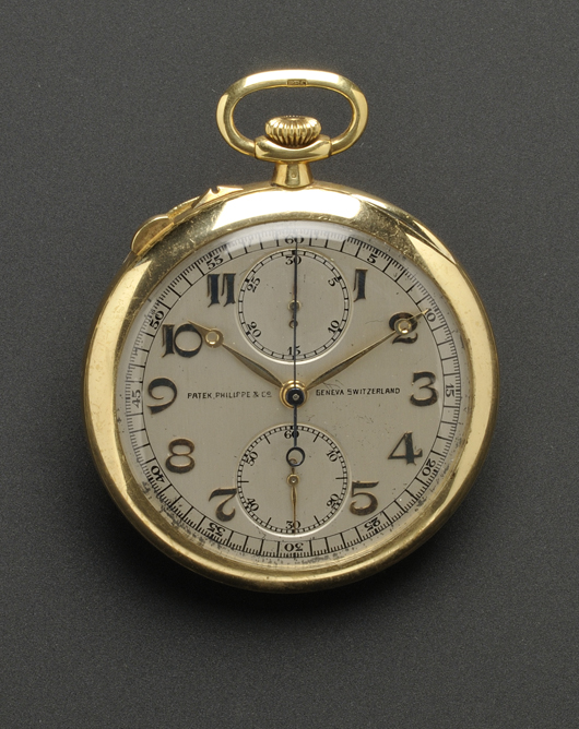 18K gold circa 1922-23 Patek Philippe open-face, split-second chronograph pocket watch. Estimate: $10,000-15,000. Image courtesy Skinner Inc.