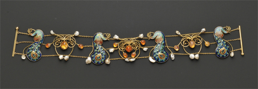 Circa-1905 Arts & Crafts enamel, fire opal and freshwater pearl dog collar, possibly English. Estimate: $25,000-35,000. Image courtesy Skinner Inc.