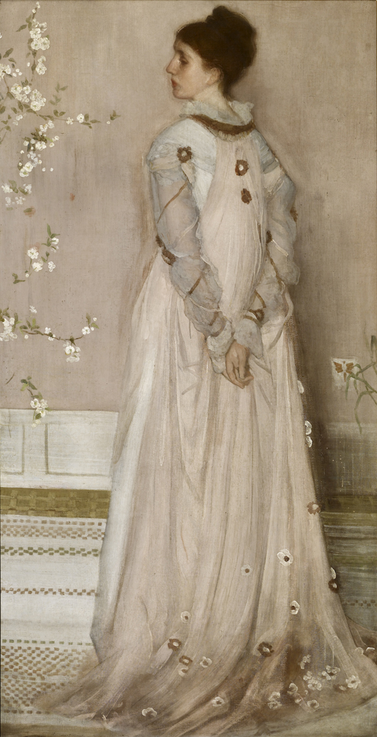 James McNeill Whistler (1834–1903) Symphony in Flesh Colour and Pink: Portrait of Mrs Frances Leyland, 1871–74. Oil on canvas 77 1/8 x 40 1/4 inches. The Frick Collection, New York. Photo: Michael Bodycomb.