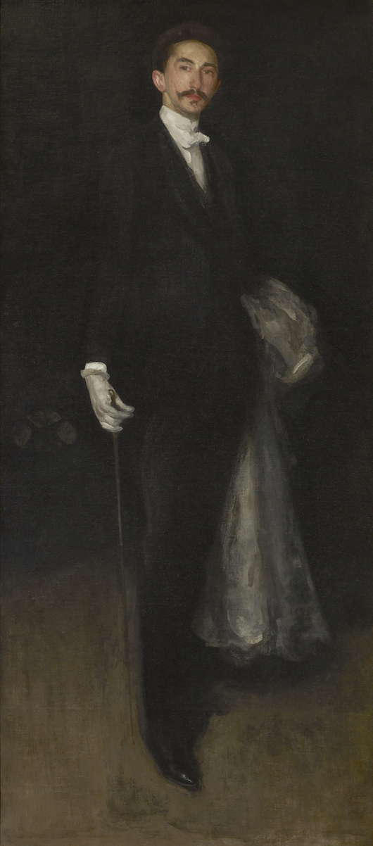 James Abbott McNeill Whistler (1834–1903) Arrangement in Black and Gold: Comte Robert de Montesquiou-Fezensac, 1891–92. Oil on canvas 82 1/8 x 36 1/8 inches. The Frick Collection, New York. Photo: Michael Bodycomb.