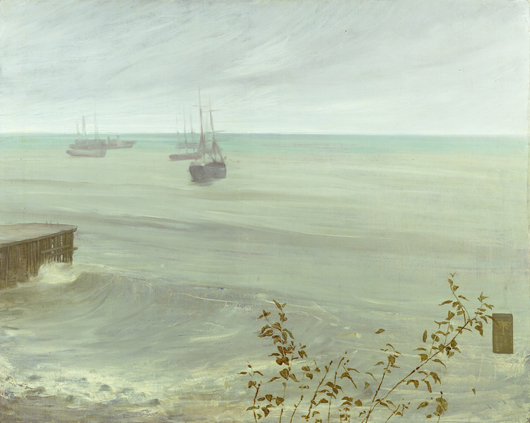 James Abbott McNeill Whistler (1834–1903) Symphony in Grey and Green: The Ocean, 1866. Oil on canvas 31 x 40 1/8 inches. The Frick Collection, New York. Photo: Michael Bodycomb.