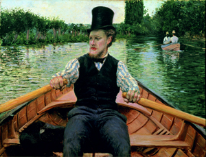 """Gustave Caillebotte (French, 1848–1894). """"Oarsman in a Top Hat,"""" 1877–1878. Oil on canvas, 35 7/16 x 46 1/16 in. (90 x 117 cm). Private collection. Image courtesy of the Brooklyn Museum."""