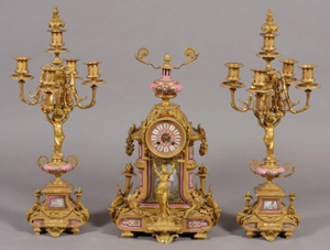 Late 19th/early 20th century Second Empire gilt-bronze mounted porcelain clock, estimate $2,000-$4,000. Image courtesy LiveAuctioneers.com and Stefek's.