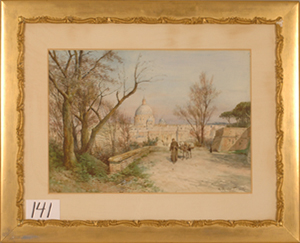 Watercolor, Ettore Roesler Franz (Italian/German, 1847-1907), Monk and Donkey, 22 inches by 31 inches. Estimate $25,000-$35,000. Image courtesy LiveAuctioneers.com and D.A. Folsom Auction Service.