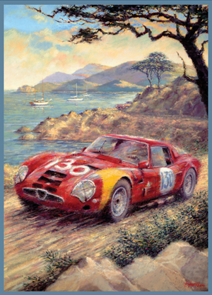 Official poster artwork by Peter Hearsey for the 2009 Pebble Beach Tour d¹Elegance. Image used by permission of the artist.