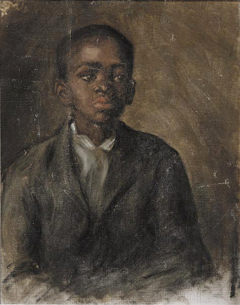 """early 20th century American School 25 by 20 inch """"Portrait of Willie Gee,&quo should generate interest. The similarity between Neal Auction Company's portrait and that of the Newark Museum of Art's 1904 Robert Henri (American, 1865-1929) portrait of Willie Gee invites the notion that the artist of the Neal Auction lot was a member of the Ashcan School and a student of Henri. """"Portrait of Willie Gee"""" is estimated at $1,800/2,400."""