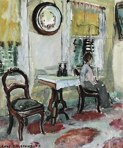 """Anne Wilson Goldthwaite (American/Alabama, 1869-1944) 17 ¾ by 15 inch oil on canvas depicting a southern interior, is estimated at $10,000/15,000. """"Victorian Interior"""" shows the influence of the Parisian art scene, and particularly the art of Henri Matisse (French, 1869-1954), on the artist, though Goldthwaite's use of color tends towards more subtlety."""