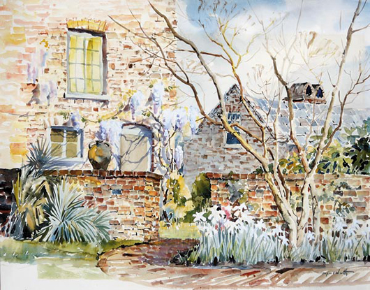 """Alfred Heber Hutty (American/Charleston, 1877-1954), depicts """"Mrs. Hutty's Garden"""" at 46 Tradd Street in Charleston, South Carolina. Hutty, a native New Yorker, discovered Charleston on his way back from Florida and promptly telegraphed his wife Bessie: """"Come quickly, have found Heaven&quot. The garden depicted in this watercolor is one that Hutty built for his wife sometime after 1927 when he purchased the old Vanderhorst House at 46 Tradd Street. """"Mrs. Hutty's Garden"""" is estimated at $15,000/25,000."""