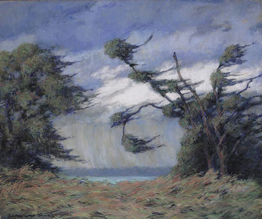 """Adolph Robert Shulz (American/Indiana, 1869-1963, active Sarasota, Florida, c. 1934), 30 by 36 oil titled """"Storm Winds, Florida"""" was painted during the artist's two year residence in Sarasota, Florida, where he taught at the Ringling School of Arts. The painting is estimated to bring $10,000/15,000."""