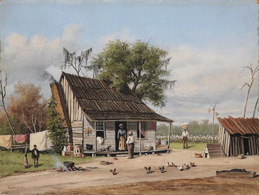 "William Aiken Walker (American/Charleston, 1838-1921), 9 ½ by 13 ½ inch ""Wash Day, Cabin Scene"" which is estimated to bring $20,000/30,000."