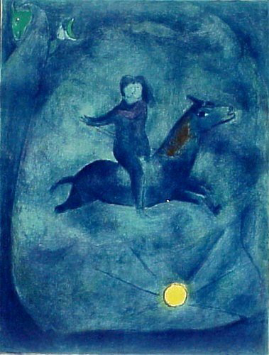 From Marc Chagall's Arabian Nights series, this 1948 color lithograph has an estimate of $20,000-$25,000. Image courtesy Clark Cierlak Fine Arts.