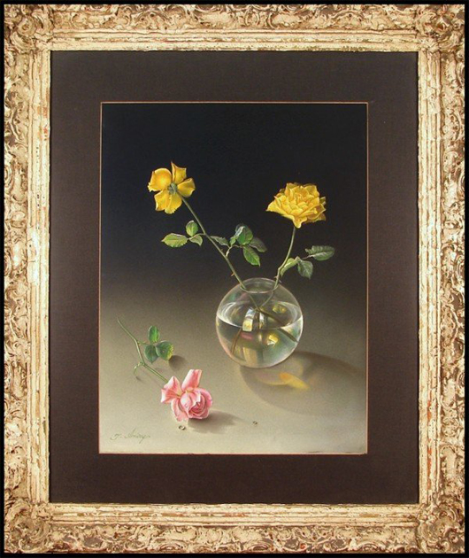 Iranian artist Teimur Amiry painted his profile into the reflection off the rose bowl in this still life. Image courtesy Clark Cierlak Fine Arts.