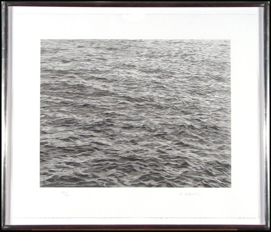 Hypnotic images of open water are captured by Vija Celmins in her 'Ocean With Cross #1,' a screenprint done in 2005. Image courtesy Clark Cierlak Fine Arts.