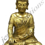 Chinese gilt-bronze Buddha seated in lotus position, 22 inches high. Estimate $15,000-$18,000.