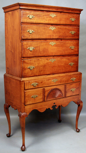 18th-century Queen Anne tiger maple highboy. 71 inches tall. Est. $15,000-$25,000. Image courtesy Kaminski Auctions.