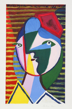 This Picasso lithograph of his 1934 'Visage de Femme sur Fond Raye' was published between 1979 and 1982. Image courtesy Ro Gallery.