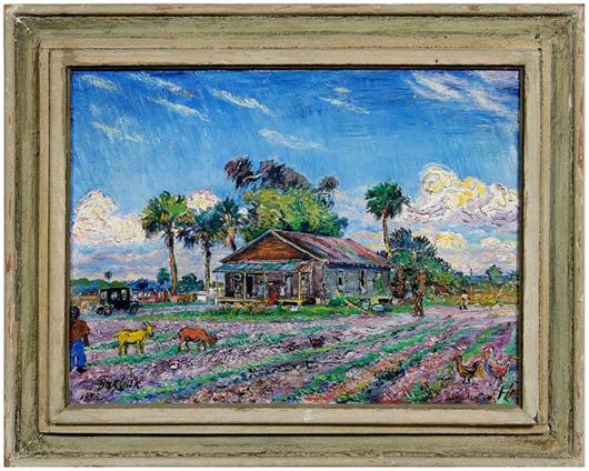 David Davidovitch Burliuk (Russian/American, 1882-1967), titled on verso Farme [sic] House in Fla (1953), 18 inches by 24 inches. Estimate $35,000-$45,000.