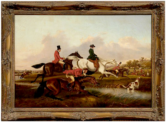 The Run, by William Henry Buck, a companion painting to The Start. Estimate $20,000-$30,000. Image courtesy LiveAuctioneers.com and Brunk Auctions.
