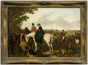 The Start, by William Henry Buck clearly shows the faces of New Orleans businessman Samuel Henry Buck and his wife Ann Fleming Buck. The 23¾ inch by 34¼ inch signed and dated oil on canvas is estimated to bring $20,000-$30,000. Image courtesy Brunk Auctions.