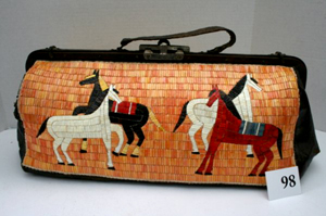 Old Reservation Era Indian doctor's bag fully quill-decorated on both sides. One side features Indian coup ponies; the other depicts a chief and warrior Indians on horseback. Estimate $40-$500. Image courtesy LiveAuctioneers.com and Old Barn Auction.