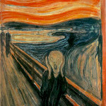 One of several versions of the painting The Scream, by Edvard Munch. The National Gallery, Oslo, Norway.