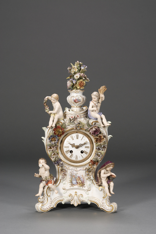 Meissen porcelain mantel clock, late 19th century, 16½ inches tall. Estimate $2,500-$3,500.