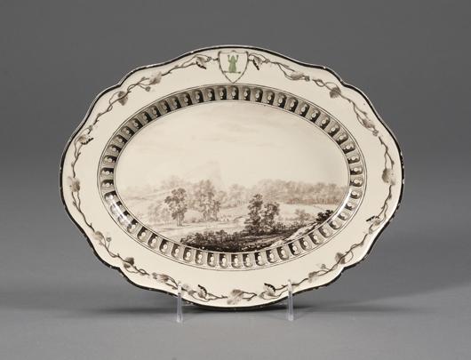 "Wedgwood Queen's Ware ""Frog Service"" platter, England, circa 1774. Estimate $10,000-$15,000."
