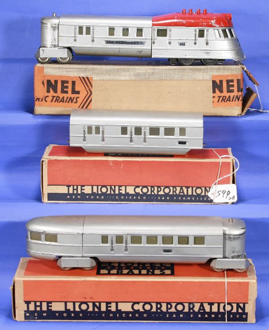 Catching the rare 1935 Lionel Smooth Yankee Set #5224E is tough. Bidding is expected to reach $1,000-$3,000. Image courtesy New England Toy & Train Exchange.