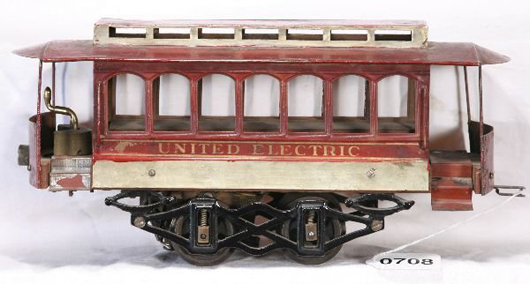 Voltamp's 2120 United Electric Trolley in original condition is a classic. It has a $3,000-$6,000 estimate. Image courtesy New England Toy & Train Exchange.