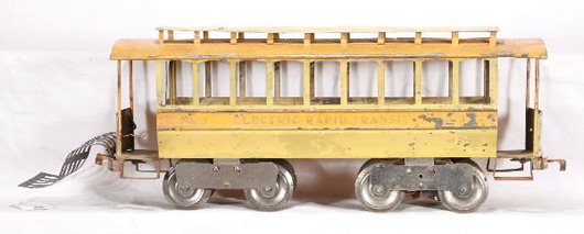 Lionel's No. 3 trolley is a scarce early example having an unusual cowcatcher. It carries an estimate of $3,000-$7,000. Image courtesy New England Toy & Train Exchange.