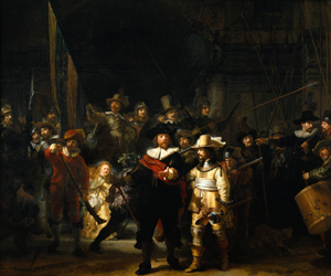 Two figures were trimmed from the left side of Rembrandt's 1642 masterpiece 'The Night Watch.' Image courtesy Wikimedia Commons.