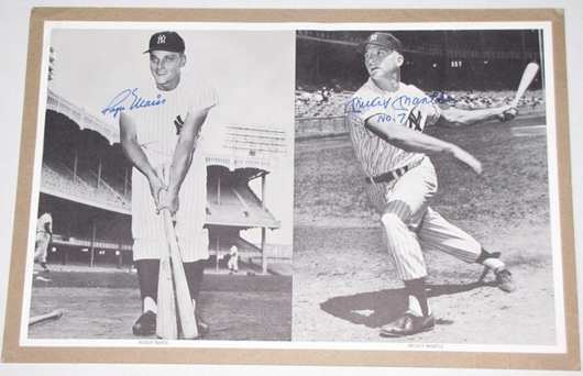 The autographs of New York Yankees sluggers Mickey Mantle and Roger Maris are on this 11 by 17 photograph, which has a $500-$1,000 estimate. Image courtesy Bought IT Sold IT.