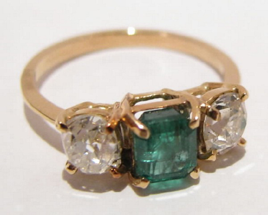 Antique jewelry in the Bought IT Sold IT auction will include this 1.25-carat emerald ring accented with diamonds. It has a $2,000-$3,000 estimate. Image courtesy Bought IT Sold IT.