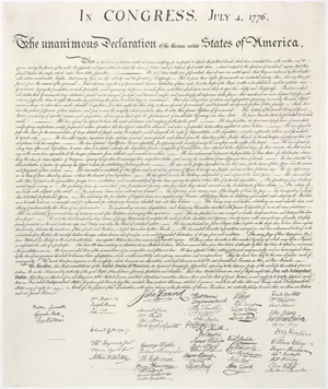 Facsimile of Declaration of Independence. U.S. Government image.