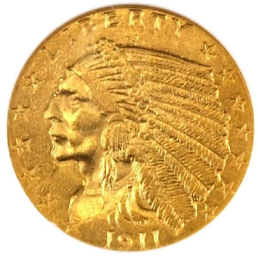 The 1911-D $2.50 gold Indian is the most desirable coin in the series. This MS-62 example has an $8,500-$10,000 estimate.