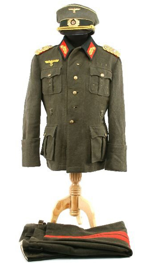The inner pocket of the tunic of this World War II German field uniform is labeled with the date Nov. 6, 1944. Complete with pants and a field cap, the general's uniform has a $10,000-$15,000 estimate.