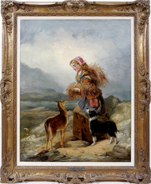 Richard Ansdell (British, 1815-1885) oil on canvas, Highland Companions, 36 inches by 30 inches. Estimate $10,000-$12,000. Image courtesy LiveAuctioneers.com and DuMouchelles.