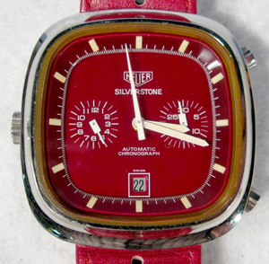Heuer's Silverstone Automatic chronograph wristwatch has a distinctive red and white front and a red leather band. Image courtesy Tom Harris Auctions.