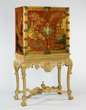 Grosvenor House Art & Antiques Fair has always been known for its uncompromising quality. At this year's event, Mallett, the distinguished antiques firm on New Bond Street, London, showed this circa-1730 red lacquer cabinet on a circa-1820 stand. Image courtesy Mallett and Grosvenor House Art & Antiques Fair.