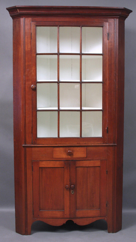 18th-century Federal cherry corner cupboard with 12 original glass panels. Stands 85 inches tall by 46 inches wide by 25 inches deep. Estimate $3,000-$5,000. Image courtesy Kaminski Auctions.