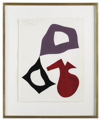 'Three Form Composition: Red, Mauve, Black,' by Hans Jean Arp (Strassburg 1886-1966 Basel). Gouache on paper. 65 x 50 cm.