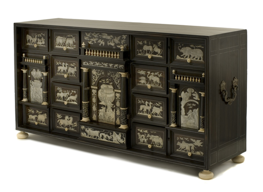 Fig. 6 - An early 17th-century chest, veneered in ebony and rosewood, inlaid with engraved ivory and appliquéd in silvered metal, which will be exhibited at the Florence Fair in September by Walter Padovani of Milan and Naples.