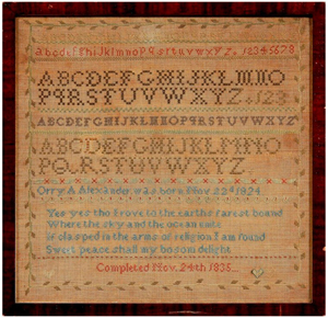 Orry (for Orra) Anne Alexander was 11 when she completed this sampler in 1835. Her father operated a hotel outside Asheville, N.C. The sampler, which sold for $21,850, was the top lot of the 700+ lot sale.