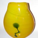 Millenium Edition opaline yellow and cobalt #2034 Kuroi Kabin Designer Series vase by Matt Carter for Blenko, 6 1/2 inches tall. Limited edition of 2000. Image courtesy British-American Media Ltd.
